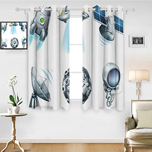SATVSHOP Window Curtain babric - 72W x 72L Inch-Drapes for Living Room.Outer Space Digital Futuristic Astronomy Space Icons Meteor adar Signals Satellite Silver.