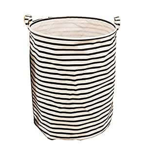 Ducklingup Waterproof Nylon Fabric Folding Thicken Clothes Storage Bag Washing Clothing Sorter Organizer Round Hamper Laundry Basket Bag Black Striped (Style 3)