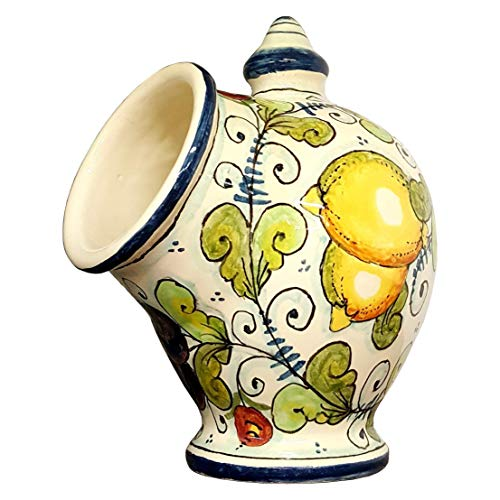 (CERAMICHE D'ARTE PARRINI- Italian Ceramic Jar Salt Holder Sponge Hand Painted Decorated Fruit Made in ITALY Tuscan Art Pottery)