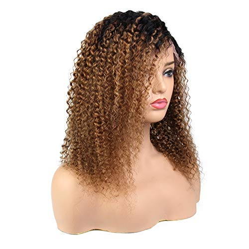 - Xtrend Lace Front Wigs For Black Women Kinky Curl Brazilian Pre Plucked Frontal Lace Glueless Human Hair Wigs for Women With Baby Hair (18 inch,1B/30#, 130% Density Lace Wig)