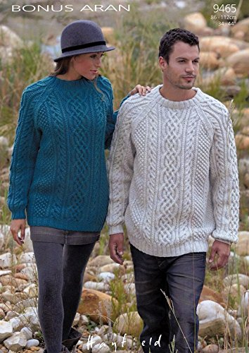 Sirdar Bonus Aran Ladies Mens Knitting Pattern 9465 Amazon Co Uk
