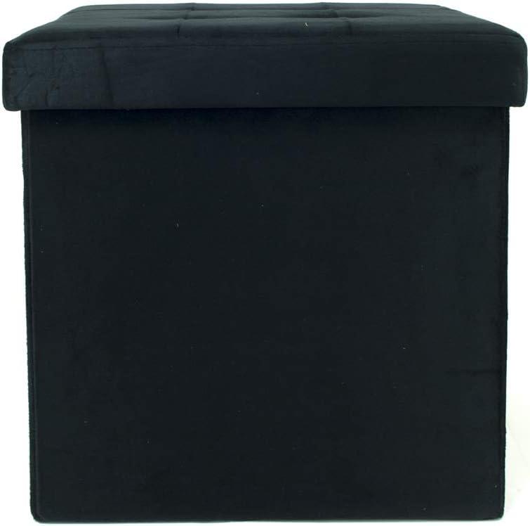 BIANCHERIAWEB Pouf Contenitore Imbottito Pieghevole Modello Double Velvet Colore Crema
