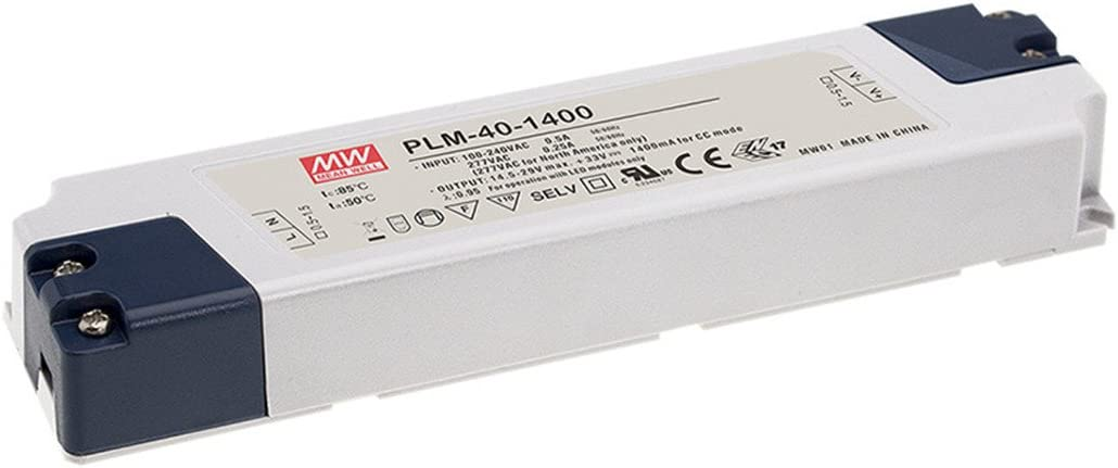 MW Mean Well PLM-40-350 105V 350mA 36.75W Single Output LED Power Supply with PFC