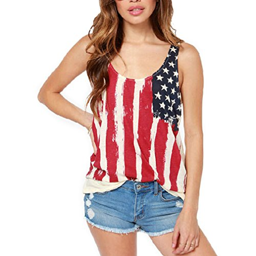 KINGDESON Womens Casual Stars and Stripes Shirts Tank Tops Sleeveless T Shirts