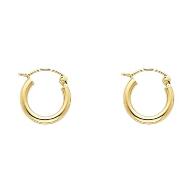 14K Yellow Gold 2MM Thickness Hinged Hoop Earrings Diameter 20mm
