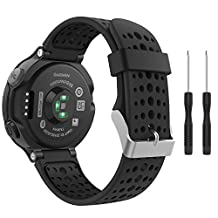 Garmin Forerunner 235 Watch Band, MoKo Soft Silicone Replacement Watch Band for Garmin Forerunner 235 / 220 / 230 / 620 / 630 / 735 Smart Watch - BLACK & BLACK