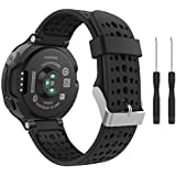 Garmin Forerunner 235 Watch Band, MoKo Soft Silicone Replacement Watch Band for Garmin Forerunner 235 / 220 / 230 / 620 / 630 / 735 Smart Watch - Black & Black