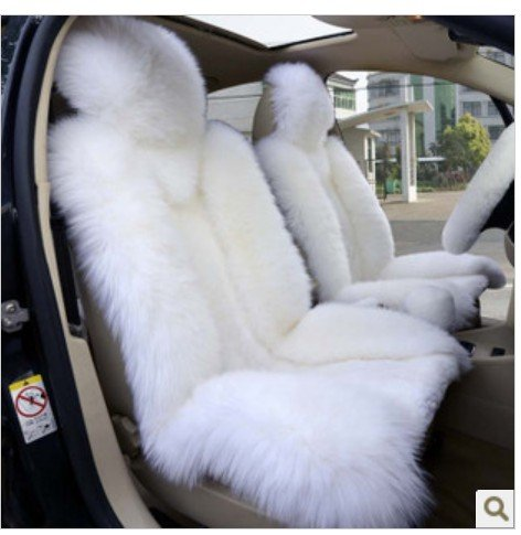 2pcs Sheepskin Car Seat Cover White Color Front Driver Cushion Accessories