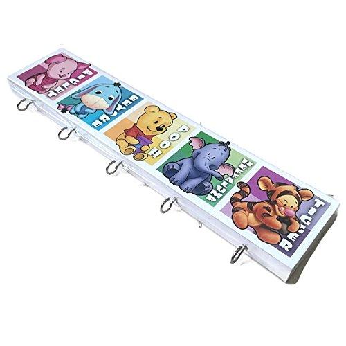 Agility Bathroom Wall Hanger Hat Bag Key Adhesive Wood 5 Hooks Classic Disney Winnie the Pooh Baby & Friends's (Disney Winnie The Pooh Wall Hanging)