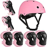 Joncom Kids Bike Helmet Pad Set Knee Elbow Pads Wrist Guards Sports Bike Skateboard Protective Gear Set for 3-