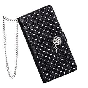 CASEDISCOVER Wallet Case Star Rhinestone Leather Side Flip Card Pouch Stand Back Cover For Sony Xperia Z2 Black