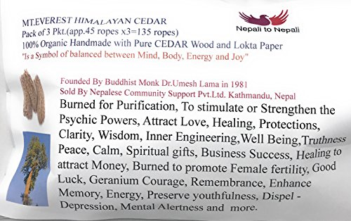 Mt.Everest Himalyan Cedar Rope Incense Roll of 3x45 Rope=135 Rope Founded by Buddhist Monk Dr. Umesh Lama in 1981