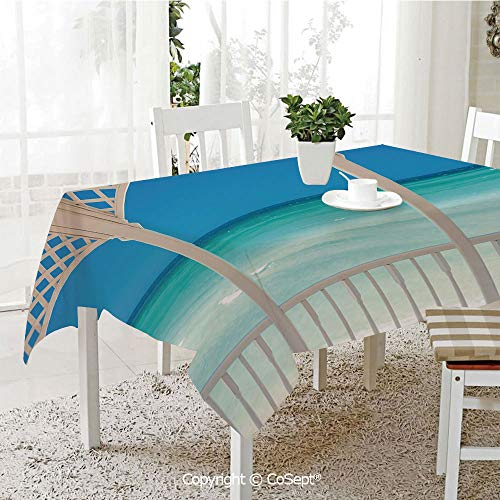 SCOXIXI Water Resistant Tablecloth,Coastal Decor Maldives Tropic Ocean Cuban Shore Photo,Washable Tablecloth Dinner Picnic Table Cloth Home Decoration(60.23