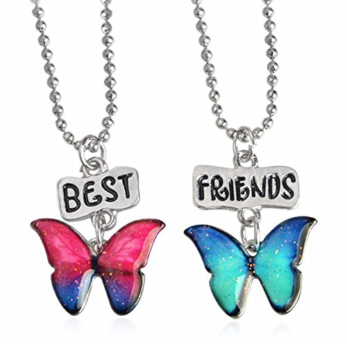 JGFinds Best Friends Necklace 2 Pack, Friendship Glitter Butterflies, Enamel