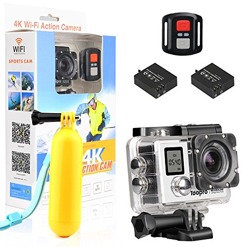 Cheap Action Camera,Toopro 4K WiFi Ultra HD Waterproof Sport Camera 170 Wide-Angle Lens Rechargeable 1050mAh Battery, Including Waterproof Case Full Accessories Kits (Silver)