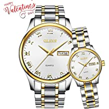 His and Hers White Faced Watches for Couple Matching Set, Women & Men Date Luminous Waterproof Wrist Watches, Couple Business Classic Titanium Steel Quartz Watch Clock Valentines Love Chritmas Gifts
