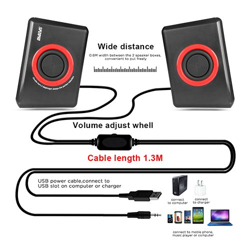 Surround Computer Speakers With Deep Bass USB Wired Powered Multimedia Speaker for PC/Laptops/Smart Phone RECCAZR Built-in Four Loudspeaker Diaphragm by RECCAZR (Image #3)'
