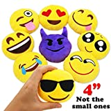 MelonBoat Emoji Plush Pillows Decoration, emoticon pillow Kids, Party Supplies Favors, 4'' Set of 9