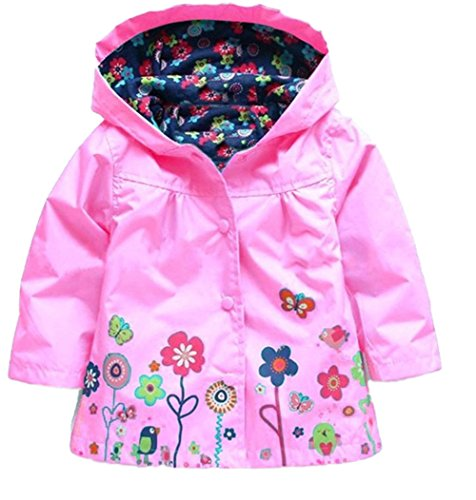 Hooded Girls' Colorful Wind Rain Waterproof Jacket Baby JIANLANPTT Coat Flower Pink wqZPPS