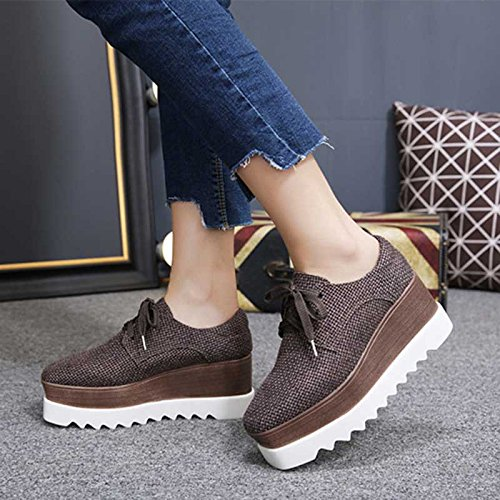 Amazon.com : GTVERNH Platform Shoes Female Spring England Thick Bottom Wedges Square All-Match Canvas Shoes New Shoes Tie Flat WomenS Singles : Sports & ...
