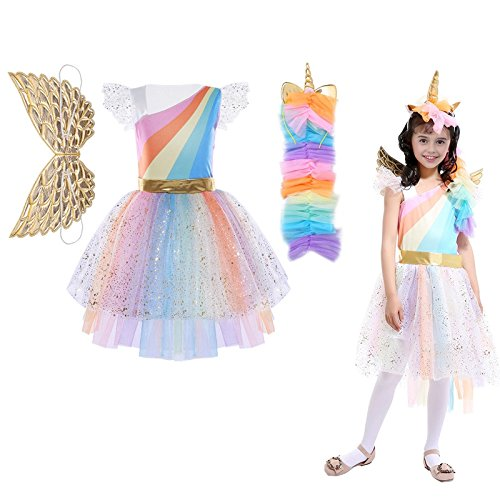 Agoky Girls Cartoon Character Halloween Cosplay Party Costumes Colorful Mesh Tutu Dress with Hair Hoop Ruffled Sleeves Colorful 7-8