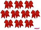 7'' Jumbo Cheer Bow Big Hair Bows with Ponytail Holder Large Classic Accessories for Teens Women Girls Softball Cheerleader Sports Elastics Ties Handmade by Kenz Laurenz (10 pack 7'' Cheer Bow Red)