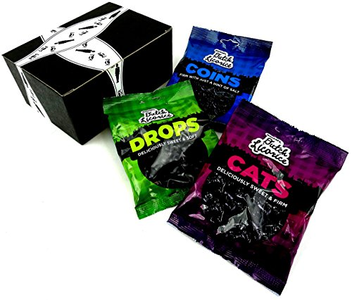 Gustaf's Dutch Black Licorice 3-Flavor Variety: One 5.2 oz Bag Each of Drops, Cats, and Coins in a BlackTie Box (3 Items Total) (Gift Licorice)