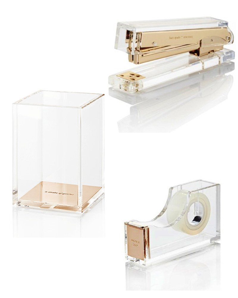 Kate Spade Strike Gold Assortment - Stapler, Tape Dispenser, Pencil Cup