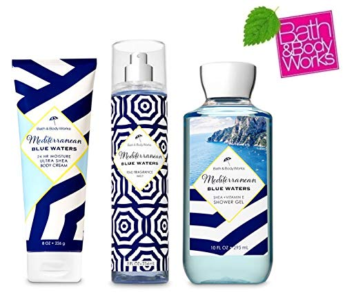 Bath and Body Works Mediterranean Blue Waters Gift Set - Fine Fragrance Mist - Shower Gel and Body Cream - Full Size