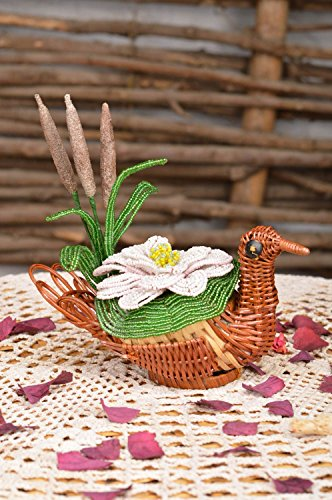 Beautiful Handmade Designer Straw Cachepot with Beaded Flower for Home Decor