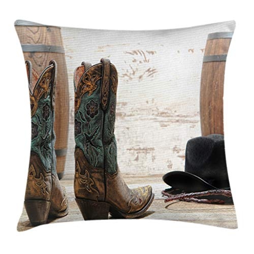 Cheap Lunarable Western Throw Pillow Cushion Cover, American Rodeo Theme Cowgirl Design Leather Boots Fancy Hat Rustic Picture, Decorative Square Accent Pillow Case, 26 X 26 Inches, Brown Teal Black