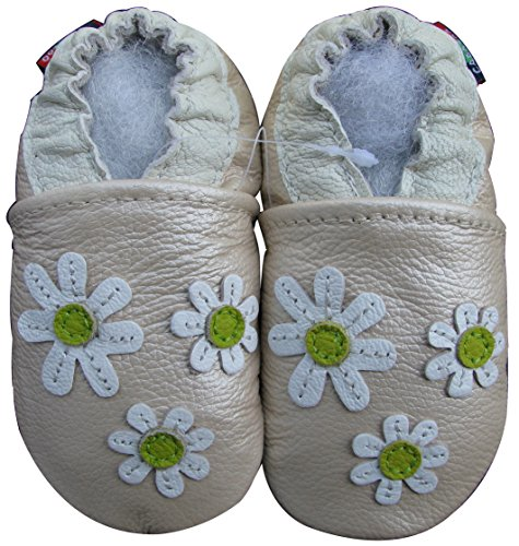 Carozoo baby girl soft sole leather infant toddler kids shoes 3 Flower Pearl 18-24m