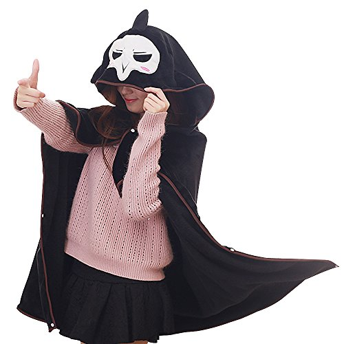 TOMORI Anime Flannel Cloak Reaper Cosplay Costume Cape Hoody Plush Throw Blanket for Nap Quilt ()