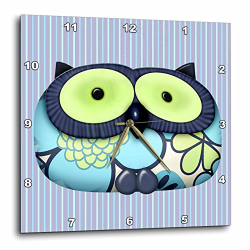 Dainty Blue Flower Pattern Owl on Blue Pinstripes Background