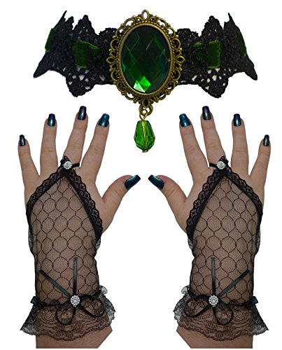 Green Lace Gloves (VICTORIAN GOTHIC BLACK EMERALD CHOKER NECKLACE + FINGERLESS GLOVES SET)