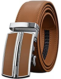 Leather Belts for Men's Ratchet Dress Belt Black Brown with Automatic Buckle