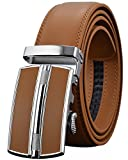 (US) Leather Belts for Men's Ratchet Dress Belt Black Brown with Automatic Buckle