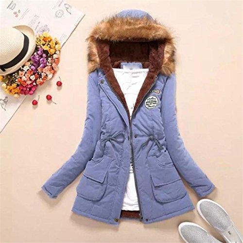 de piel capucha Azul mujeres de Chaqueta de y para Manadlian Chaqueta largo Outwear mujer invierno con Parka cuello Abrigo cielo cálido 6wO5Ffwq