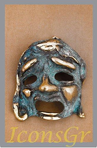 Griego antiguo Bronce Museo Estatua réplica de teatro máscara de tragedia (441)