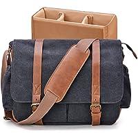 Camera Bag, GRM Vintage DSLR SLR Messenger Bag Canvas Leather Shockproof Camera Shoulder Bag Laptop Bag