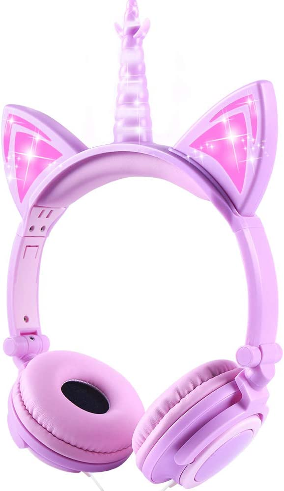 esonstyle Unicorn Kids Headphones Kids LED Light Headband Earphone Foldable Over On Ear Game Headset for Toddlers Travel Birthday Gifts (Purple)