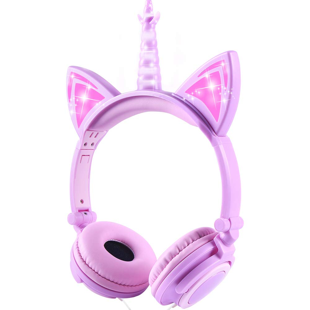 esonstyle Unicorn Kids Headphones Kids LED Light Headband Earphone Foldable Over On Ear Game Headset for Toddlers Travel Birthday Gifts (Purple)