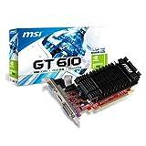 MSI Carte graphique Nvidia GeForce GT610 - GPU cadencé a 810MHz - Mémoire 1Go DDR3, interface 64bit - PCI Express 2. 0 - VGA / DVI-I / HDMI - Low profile - Dissipateur passif - Réf. N610-1GD3H/LPV1