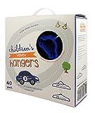 Beriwinkle Kids Size, Premium Heavyweight, Velvet Car Hangers – Ultra-Thin, Space Saving, No-Slip, Perfectly Sized For Kids 4-15 years - Set of 40, 20 Royal Blue Car, 20 Regular Royal Blue