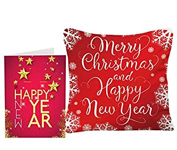 c825f8e3335fb Sky Trends Happy New Year Gifts and Merry 2018 Gifts Printed 12x12 in  Cushion Cover with