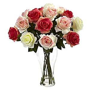 Nearly Natural Blooming Roses Silk Flower with Glass Vase 4