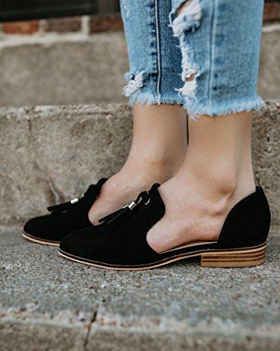 Hotiques Femmes Bout Pointu Slip Sur Mocassins À Pampilles Chaussures Plates (sil Vous Plaît Acheter Une Taille Vers Le Bas!) Noir