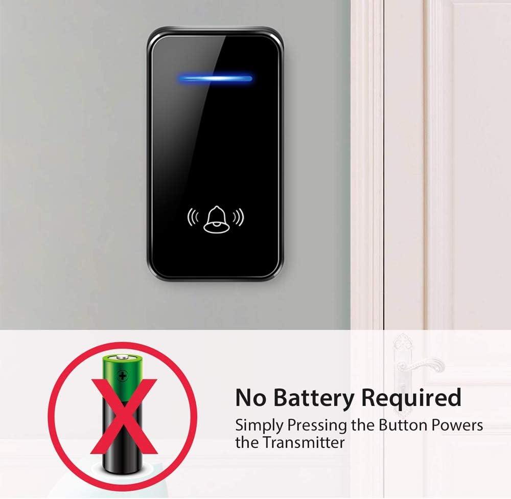 0-110dB Loud 7 Levels Volume 【No Battery Required】Self-Powered Wireless Doorbell 450ft Range Cordless Plug in Door Bells with 2 Receivers IP55 Waterproof Door Chime Bell 48 Ringtones