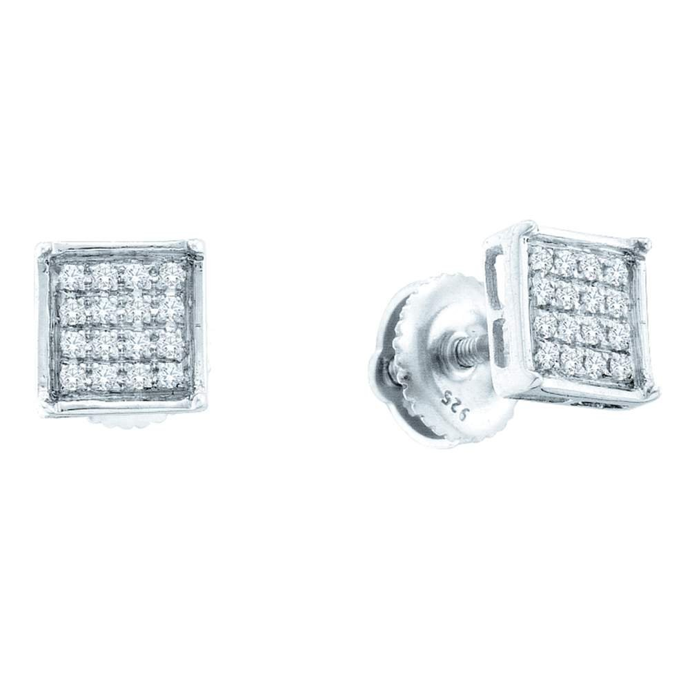 14kt White gold Womens Round Diamond Square Cluster Earrings 1 10 Cttw