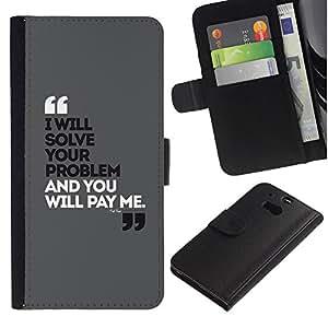 A-type (Quote Marks Funny Grey Black Poster) Colorida Impresión Funda Cuero Monedero Caja Bolsa Cubierta Caja Piel Card Slots Para HTC One M8